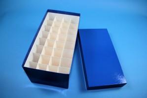 CellBox Maxi lang Kryobox (Karton standard) 4x8 Fächer, blau, Höhe 128 mm