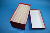 CellBox Maxi long Cryo tüp kutu (karton standart) / 6x12 separatörler, kırmızı, yükseklik 128 mm