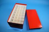 CellBox Maxi long Cryo tüp kutu (karton özel) / 4x8 separatörler, kırmızı, yükseklik 128 mm